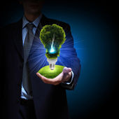 Clean energy. green light bulb — Stock Photo