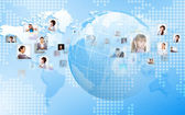 Planet as symbol of social networking — Stockfoto