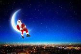Santa auf dem mond — Stockfoto