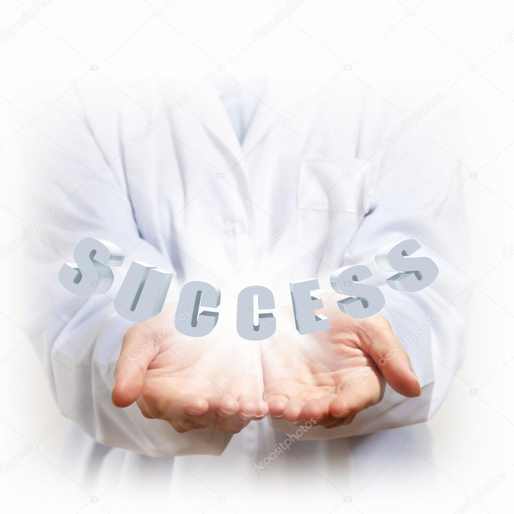 Word success illustration and two human hands — Stock Photo #16373375