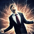 Businessman in anger with fists clenched screaming — Stock Photo #19580891