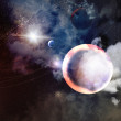 Image of planets in fantastic space against dark background — Stock Photo