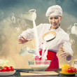 Asian female cooking with magic against color background — Stock Photo