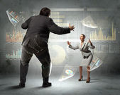 Image of businesspeople arguing and acting as sumo fighters — Stock Photo