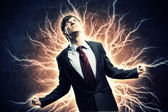 Businessman in anger with fists clenched screaming — Stock Photo
