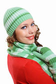 Young pretty woman in warm winter hat and scarf — Stock Photo