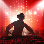 DJ with a mixer equipment to control sound and play music — Stock Photo