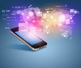 Modern communication technology illustration with mobile phone and high tech background — Stock Photo