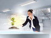 Young businesswoman looking at high-tech image of sprig — Stock Photo