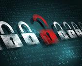 Security concept: Lock on digital screen, illustration — Stock Photo