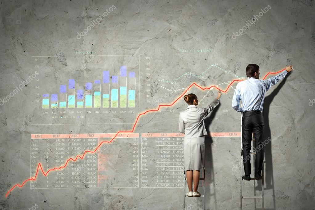Businesspeople standing on ladder drawing diagrams and graphs on wall — Stock Photo #19581643