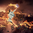 Image of running businesswoman with a fire - Foto Stock