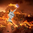 Image of running businesswoman with a fire - Lizenzfreies Foto