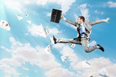 Image of jumping businessman — Stock Photo