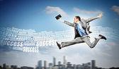 Image of running businessman — Stock Photo