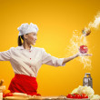 Asian female cook with knife — ストック写真