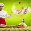 Asian female cook with knife — 图库照片