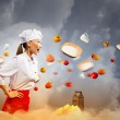 Asian female cook in anger — Stock Photo #21085785