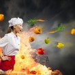 Asian female cook in anger — Stock Photo #21085947