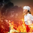 Asian female cook in anger — Stock Photo #21086067