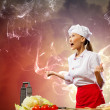 Asian female cook in anger — Stock Photo #21086069