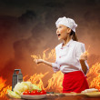 Asian female cook in anger — Stock Photo #21086077