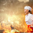 Asian female cook in anger — Stock Photo #21086093