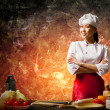 Asian female cook in anger — Stock Photo #21086095