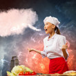 Asian female cook in anger — Stock Photo #21086097