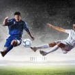 Two football players striking the ball — Stock Photo #21114499