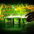 Three glasses of green absinth — Stock Photo #21115451