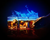 Three glasses of burning yellow absinthe — Stok fotoğraf