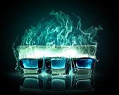Three glasses of burning emerald absinthe — Stock Photo