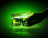 Two glasses of green absinth — Stock Photo