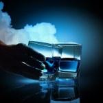 Two glasses of blue liquid — Stock Photo