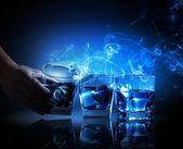 Three glasses of blue cocktail — Stock Photo