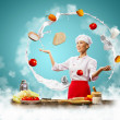 Juggler female cook - Stock Photo