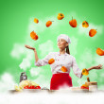 Juggler female cook — Stock Photo #21131483