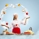 Juggler female cook — Stock Photo #21131487