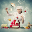 Asian female cooking with magic — Stockfoto