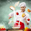 Asian female cooking with magic — Foto Stock
