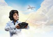 Little boy in pilot's hat — Stock Photo