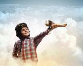 Little boy in pilot's hat — Stok fotoğraf