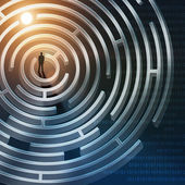 Silhuett av affärsman i labyrint — Stockfoto