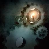 Zakenman silhouet in foto van mechanisme — Stockfoto