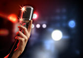 Audio microphone retro style — Stockfoto