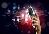 Audio microphone retro style — Stock Photo