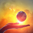 Image of earth planet on hand — Stock Photo #21208781