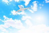 Image of airplane in sky — Stock Photo
