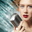 Image of female singer — Stock Photo